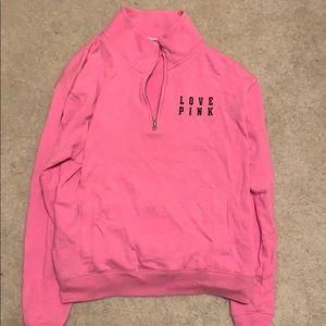 Neon pink quarter zip sweatshirt